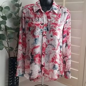 Guess Womens Button Down Floral Blouse XS (G-23)